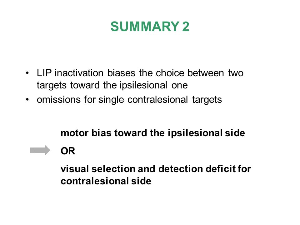 SUMMARY 2 LIP inactivation biases the choice between two targets toward the ipsilesional one. omissions for single contralesional targets.