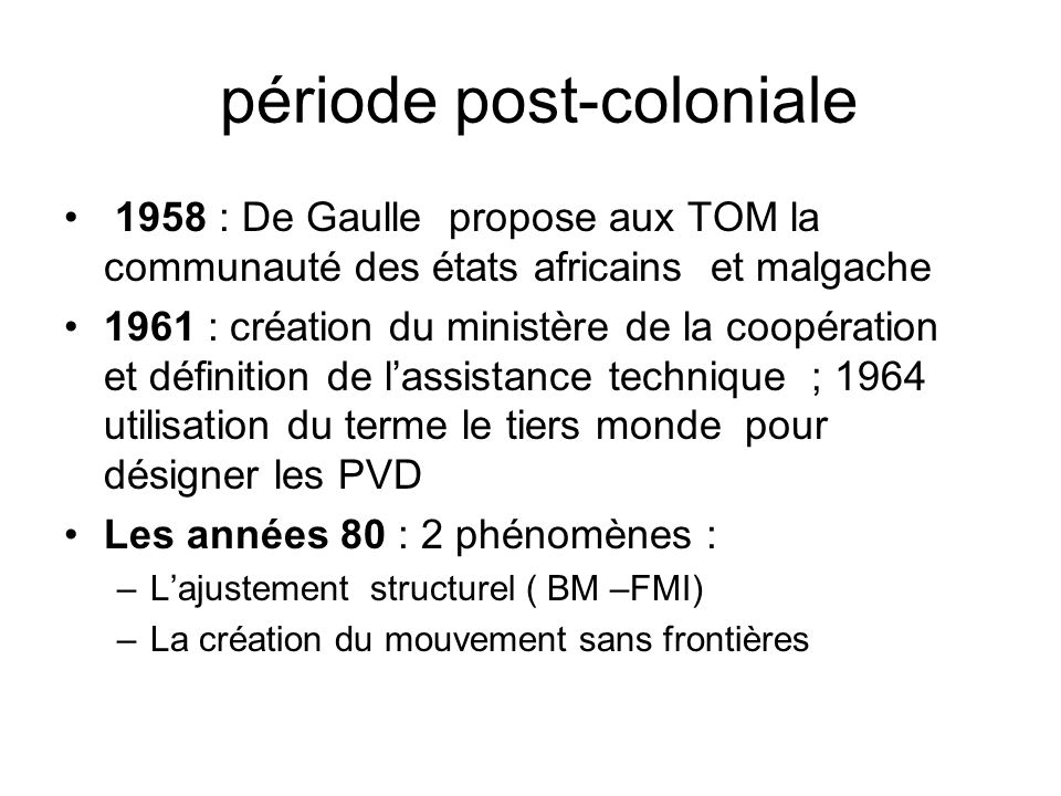 période post-coloniale