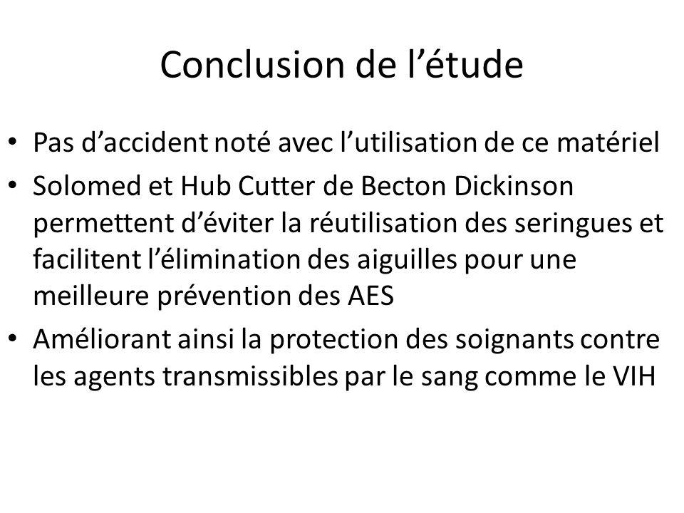 Conclusion de l'étude Pas d'accident noté avec l'utilisation de ce matériel.