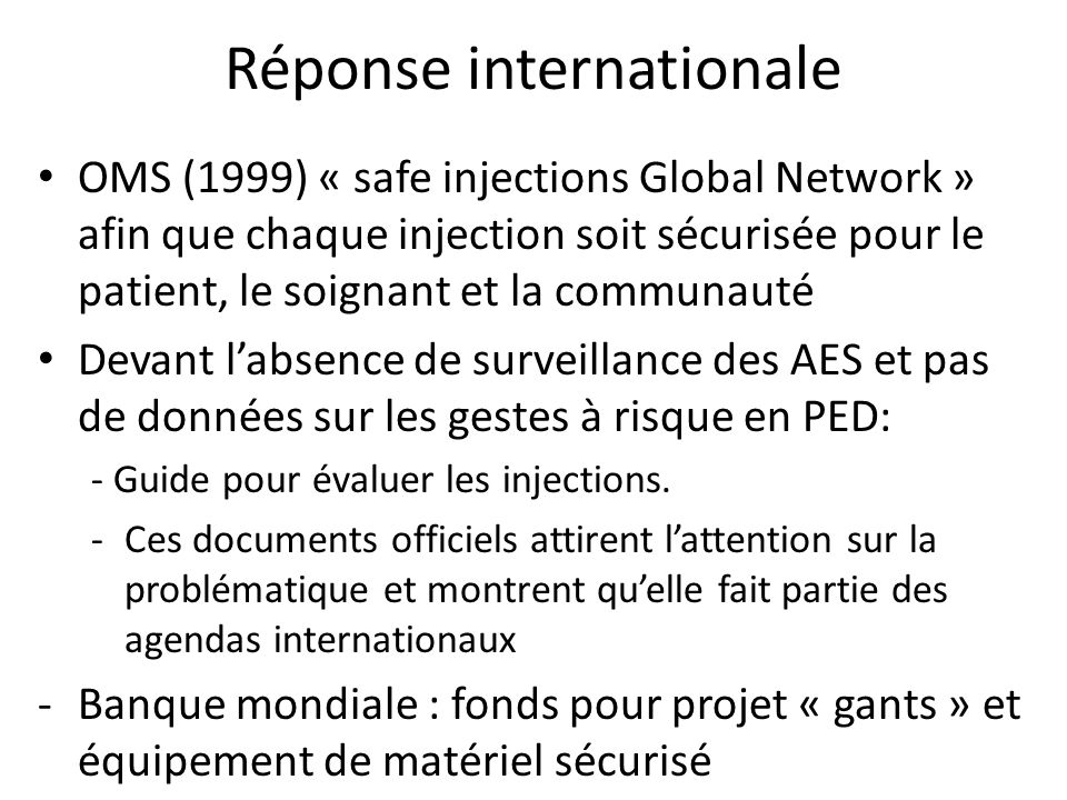 Réponse internationale