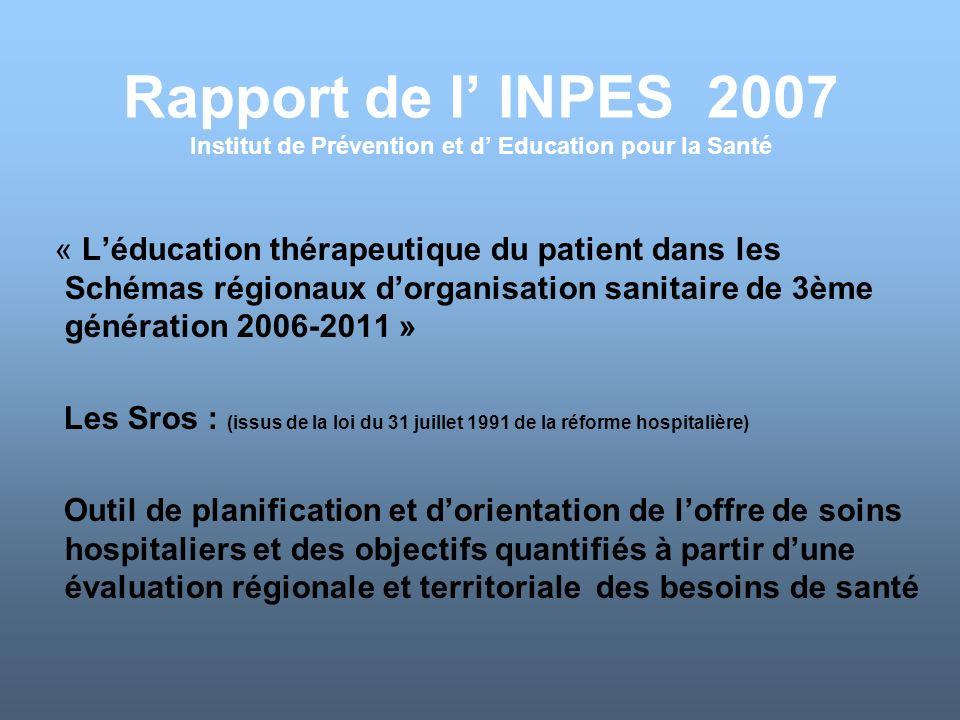 Rapport de l' INPES 2007 Institut de Prévention et d' Education pour la Santé