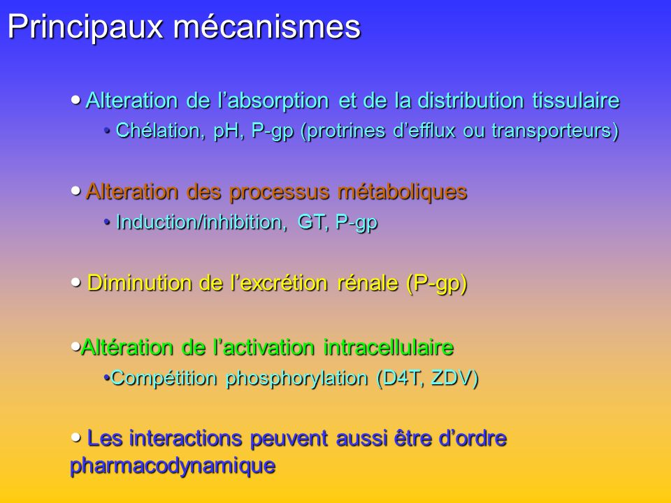 Principaux mécanismes