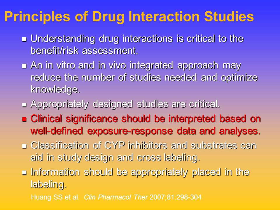 Principles of Drug Interaction Studies