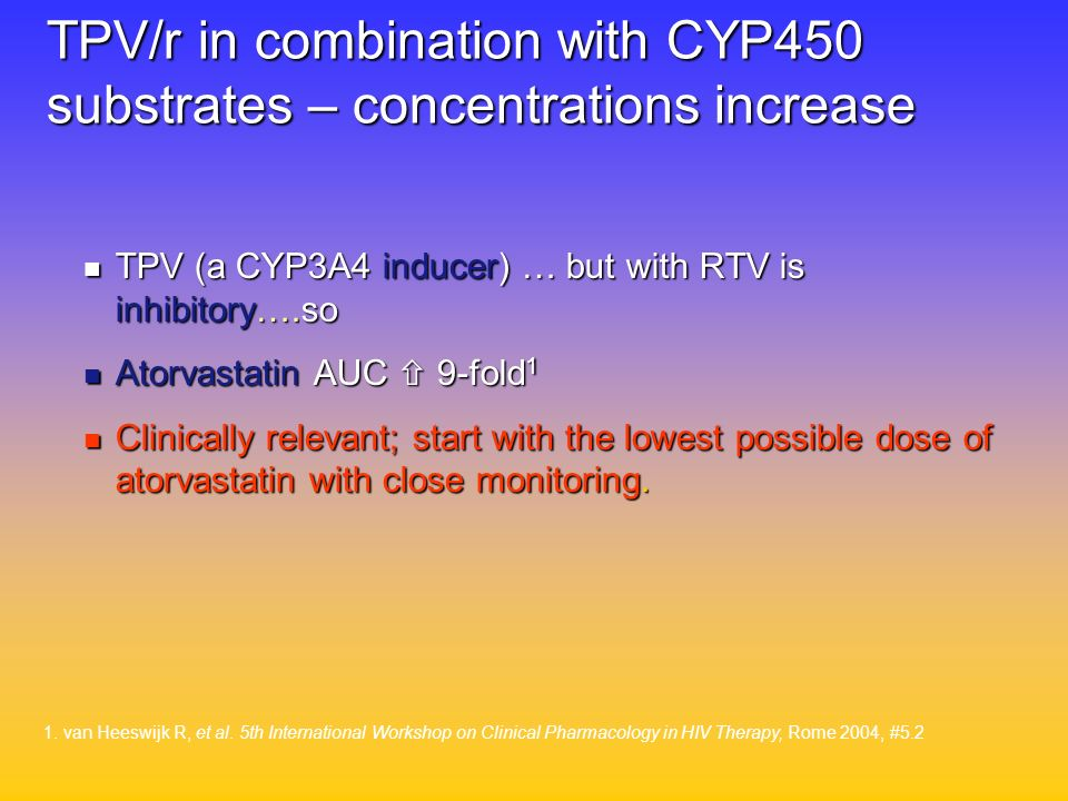 TPV/r in combination with CYP450 substrates – concentrations increase