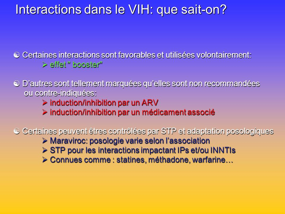 Interactions dans le VIH: que sait-on