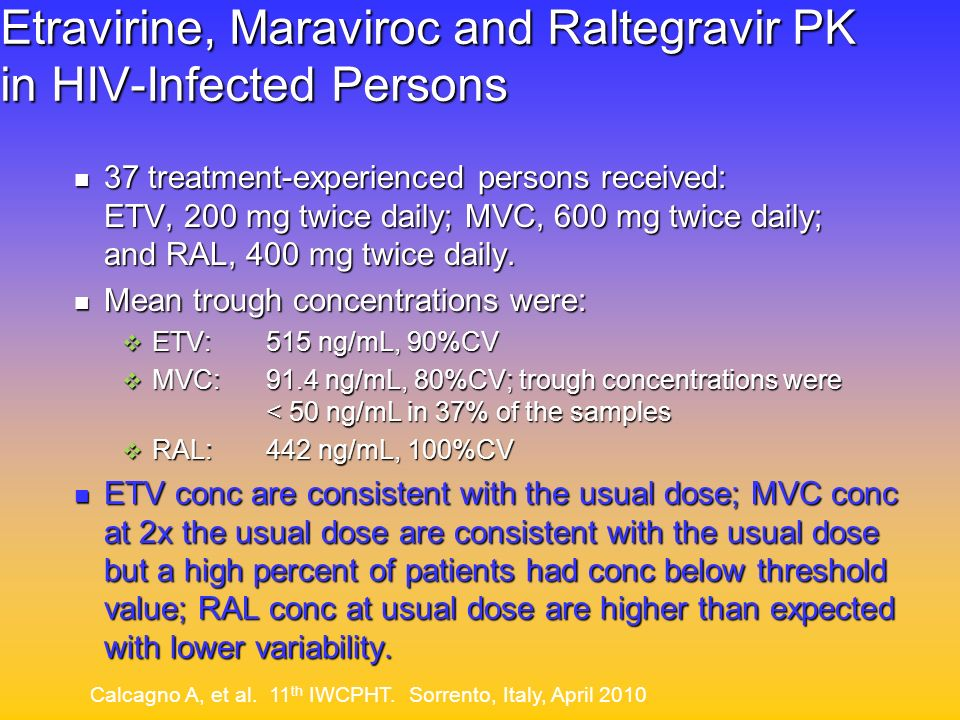 Etravirine, Maraviroc and Raltegravir PK in HIV-Infected Persons