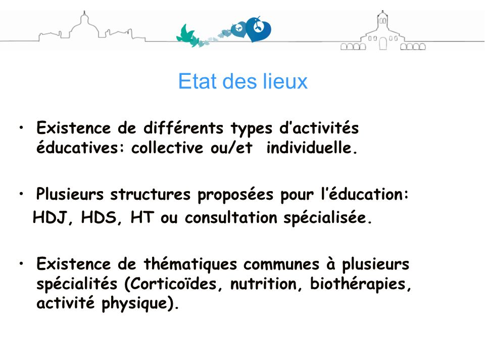 Etat des lieuxExistence de différents types d'activités éducatives: collective ou/et individuelle.