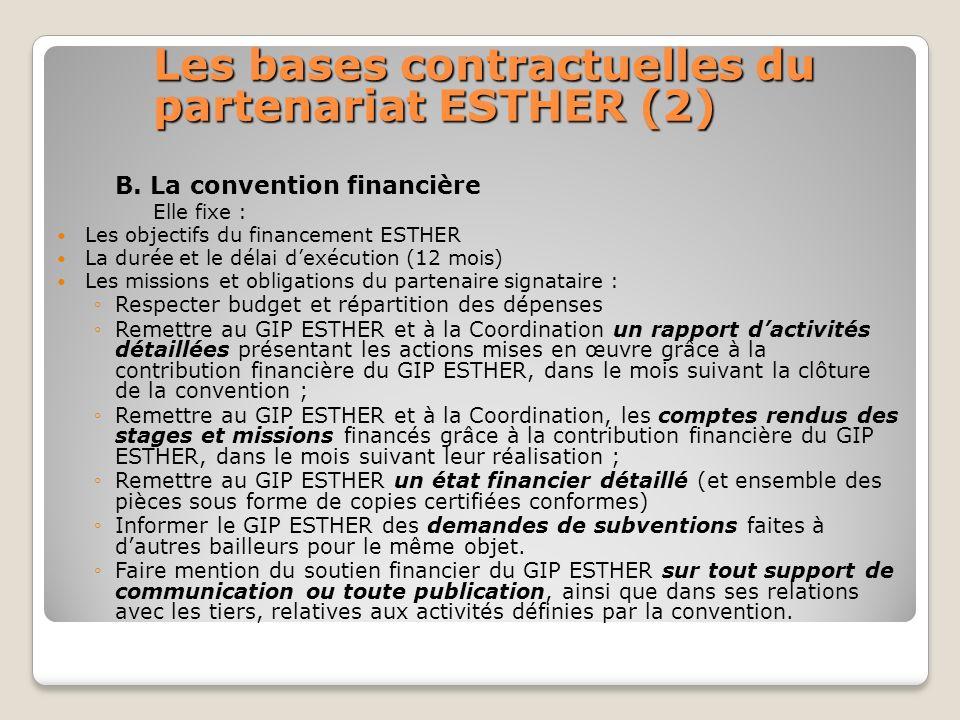 Les bases contractuelles du partenariat ESTHER (2)