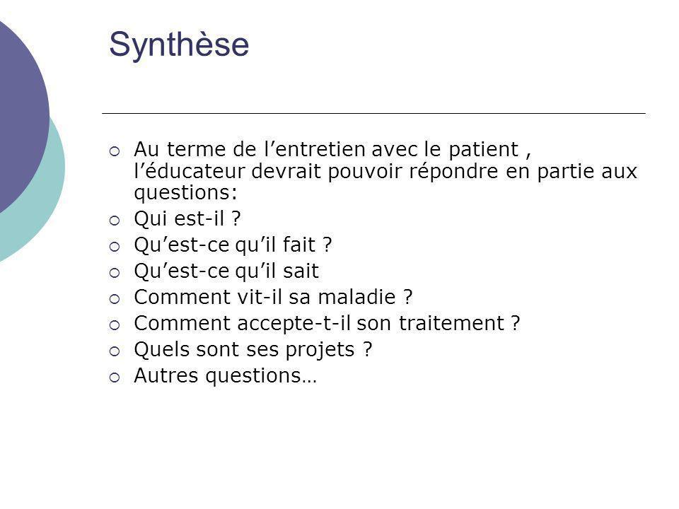 Synthèse Au terme de l'entretien avec le patient , l'éducateur devrait pouvoir répondre en partie aux questions: