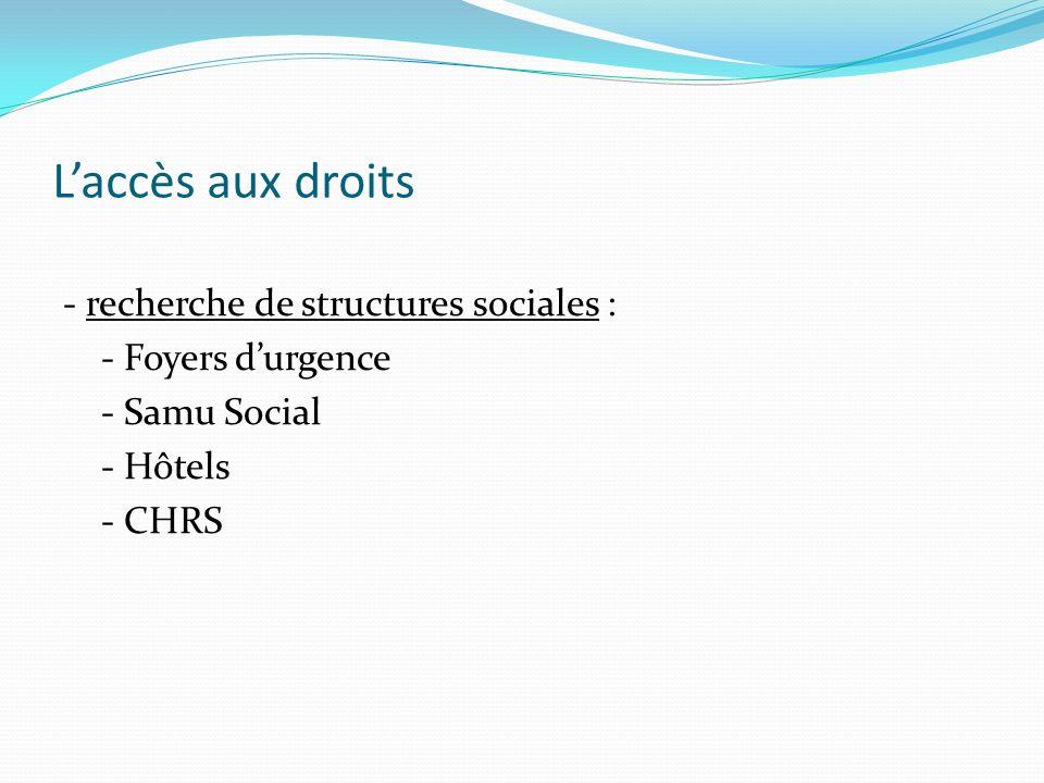 L'accès aux droits - recherche de structures sociales : - Foyers d'urgence - Samu Social - Hôtels - CHRS