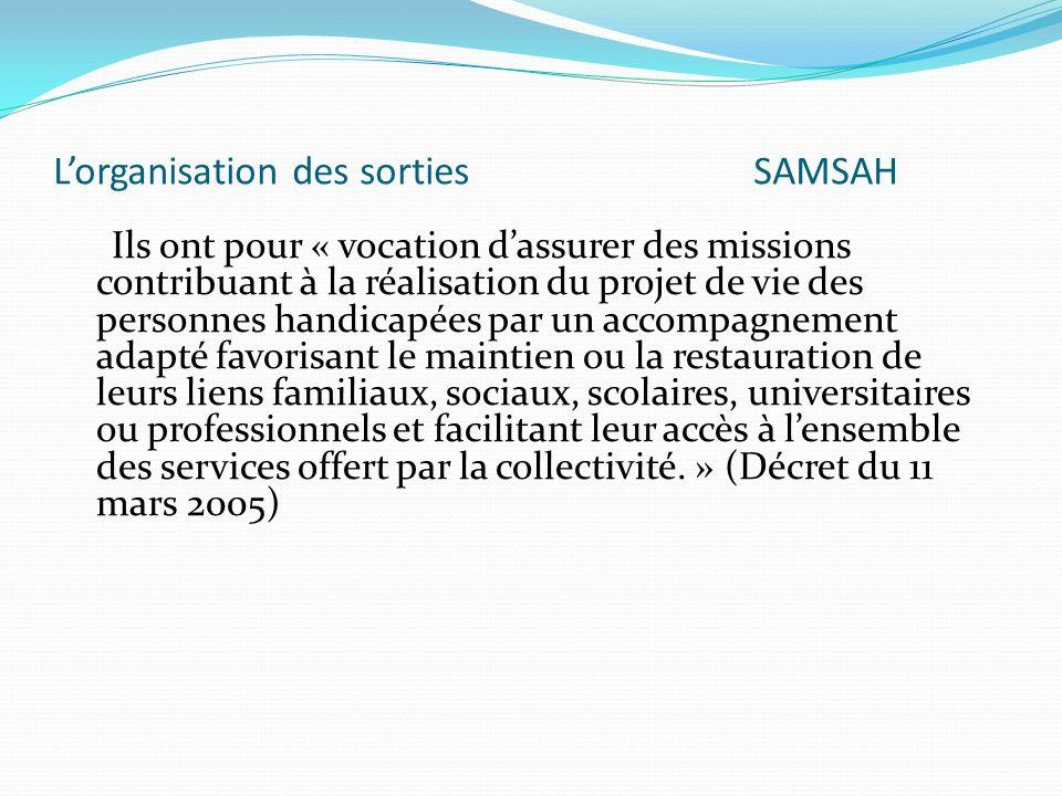 L'organisation des sorties SAMSAH