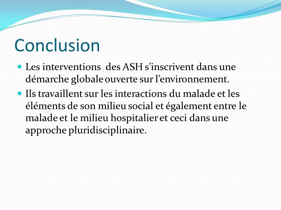 Conclusion Les interventions des ASH s'inscrivent dans une démarche globale ouverte sur l'environnement.
