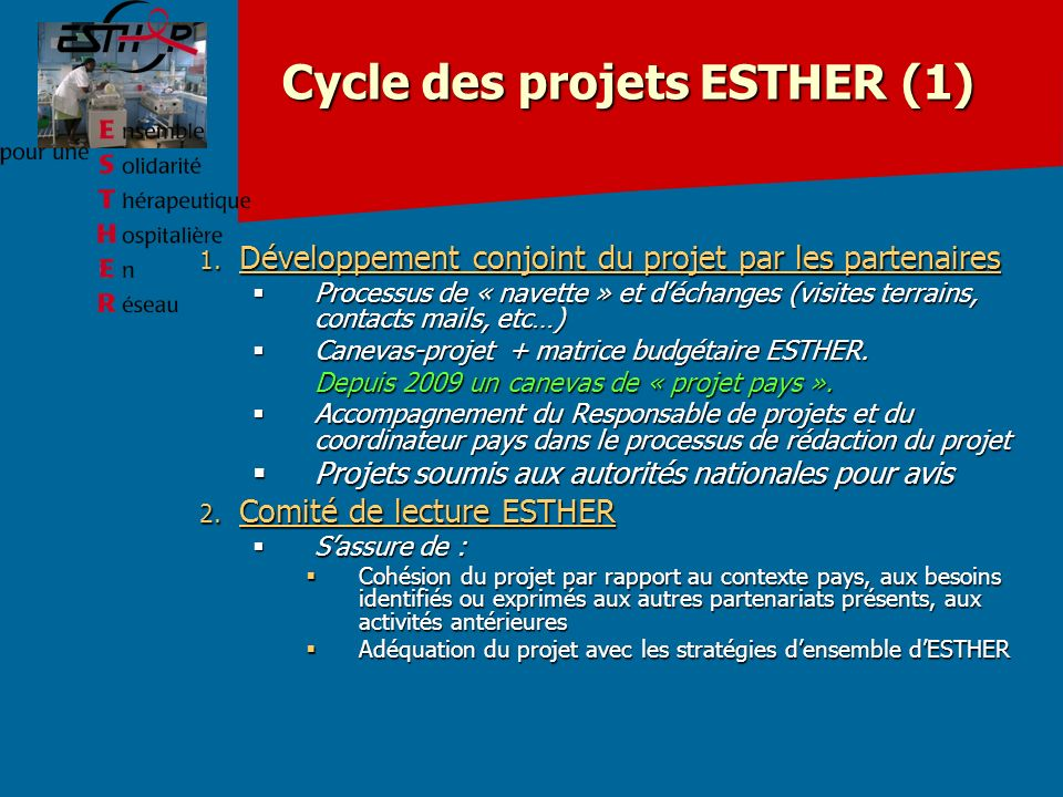Cycle des projets ESTHER (1)