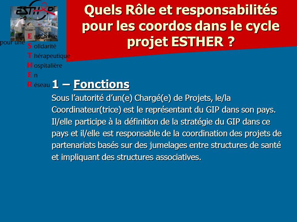 Quels Rôle et responsabilités pour les coordos dans le cycle projet ESTHER