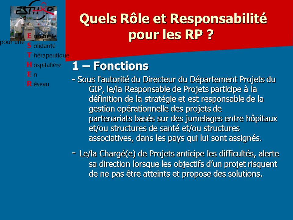 Quels Rôle et Responsabilité pour les RP