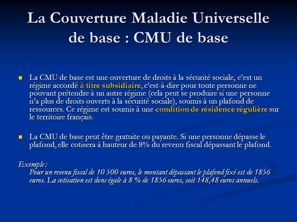 La Couverture Maladie Universelle de base : CMU de base