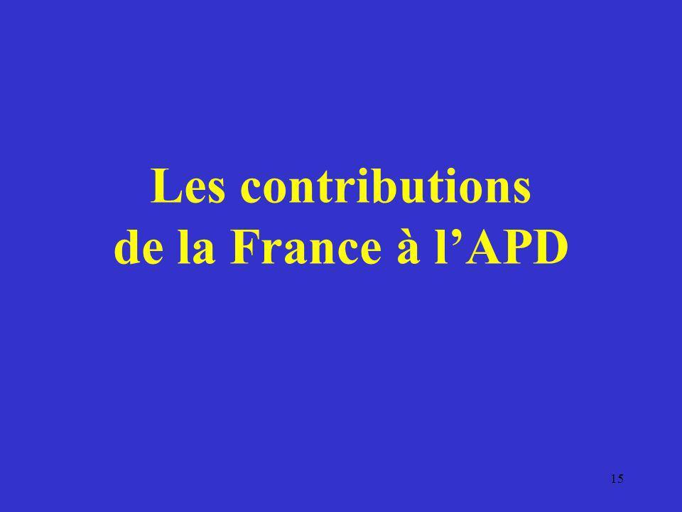 Les contributions de la France à l'APD