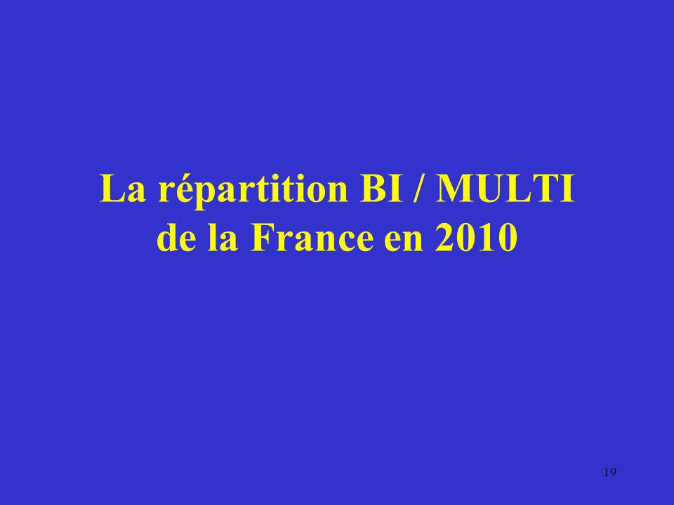 La répartition BI / MULTI de la France en 2010