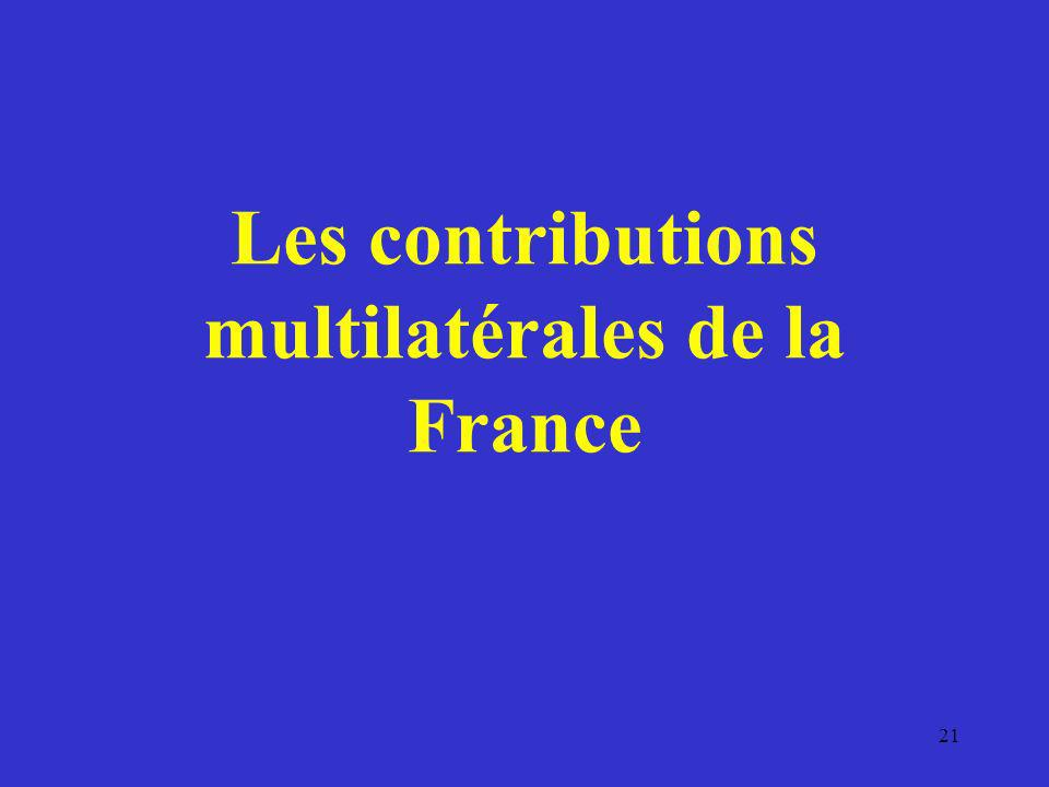 Les contributions multilatérales de la France