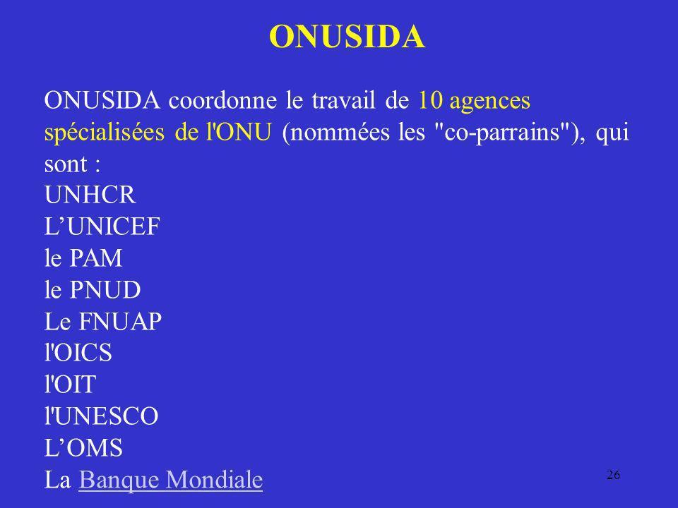 ONUSIDA ONUSIDA coordonne le travail de 10 agences spécialisées de l ONU (nommées les co-parrains ), qui sont :