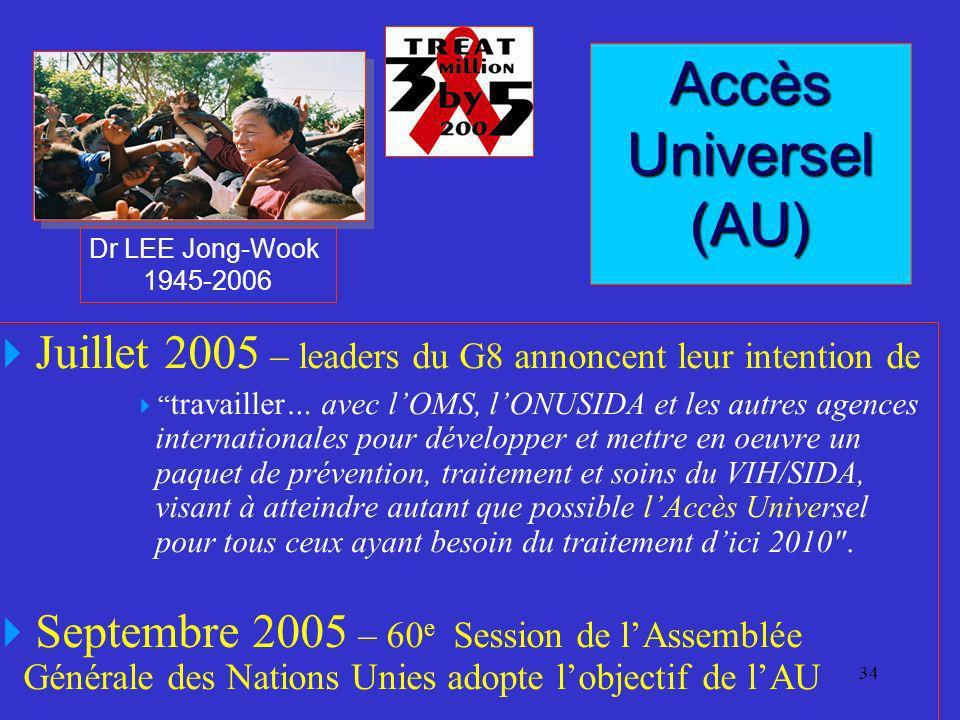 Dr LEE Jong-Wook 1945-2006. Accès Universel (AU) Juillet 2005 – leaders du G8 annoncent leur intention de.