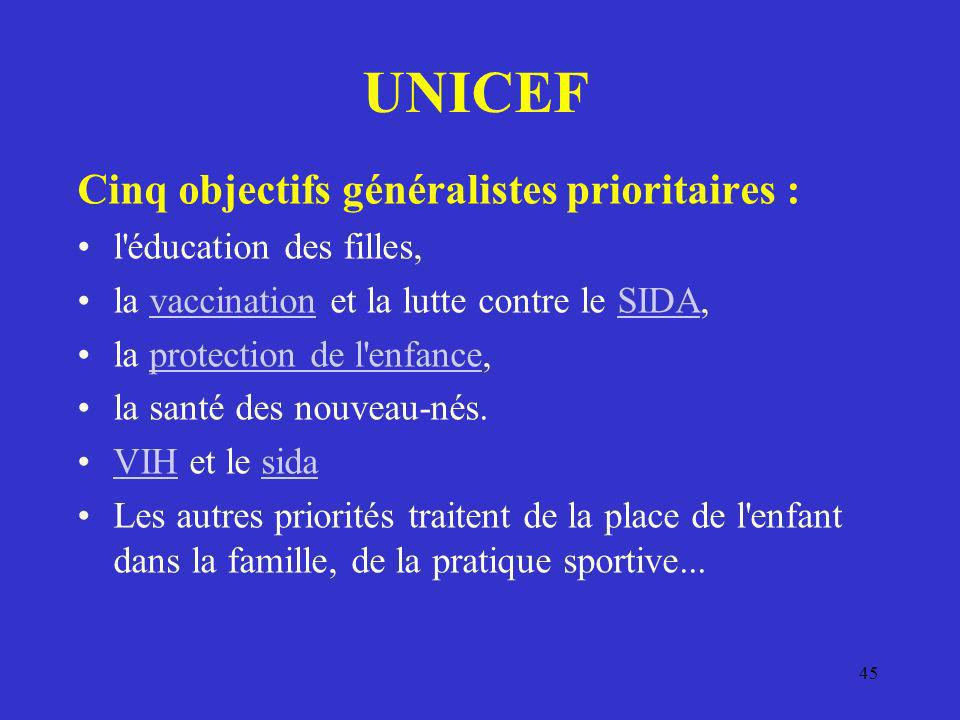 UNICEF Cinq objectifs généralistes prioritaires :