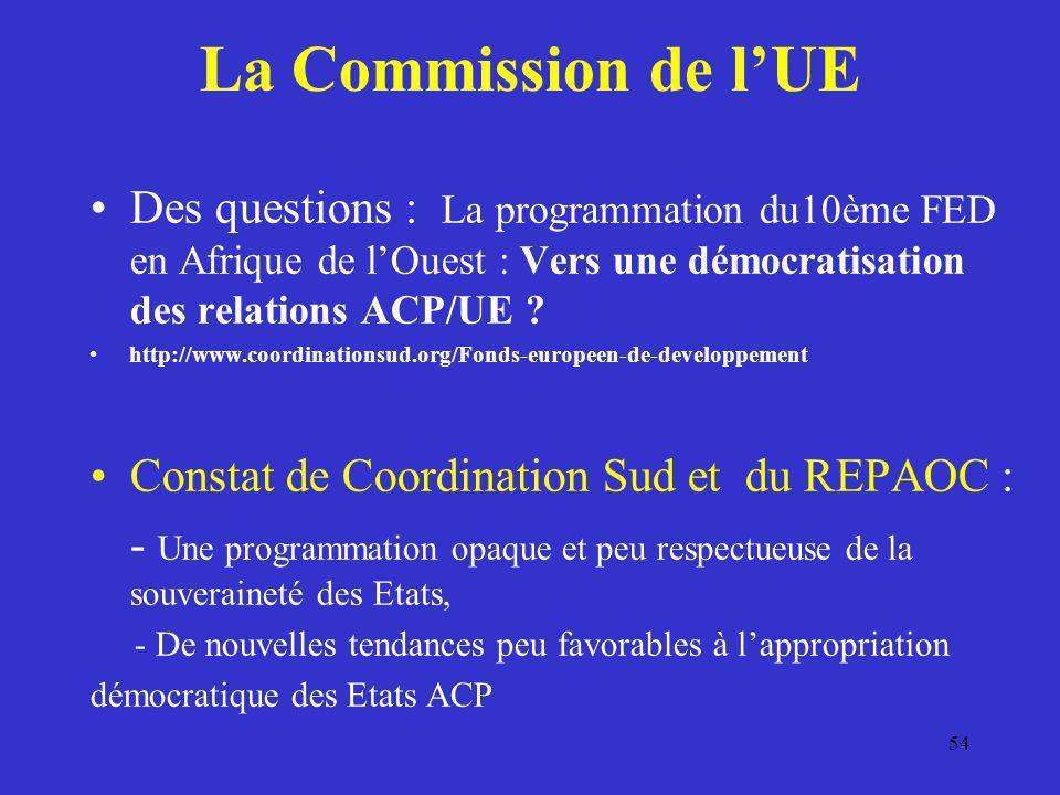 La Commission de l'UE Des questions : La programmation du10ème FED en Afrique de l'Ouest : Vers une démocratisation des relations ACP/UE