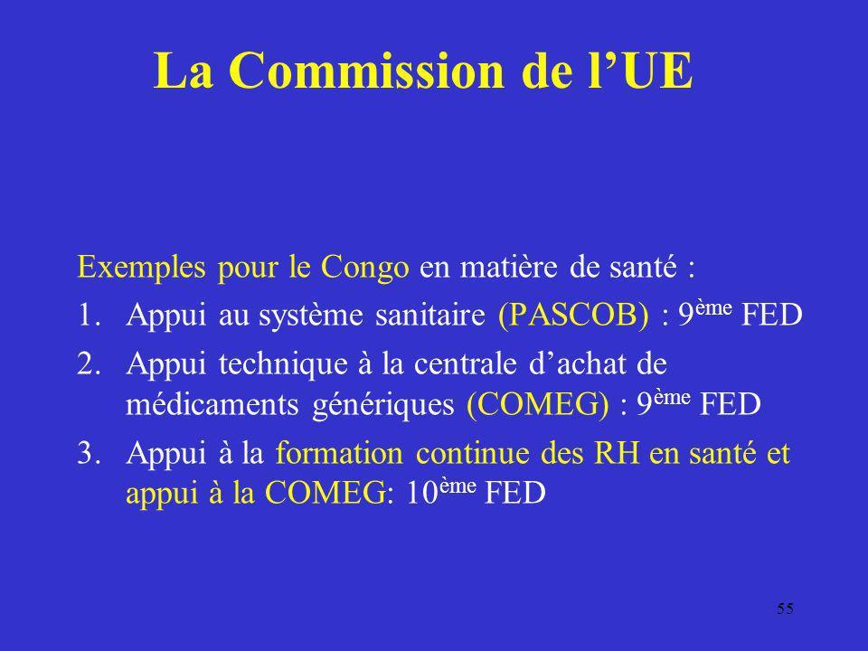 La Commission de l'UE Exemples pour le Congo en matière de santé :