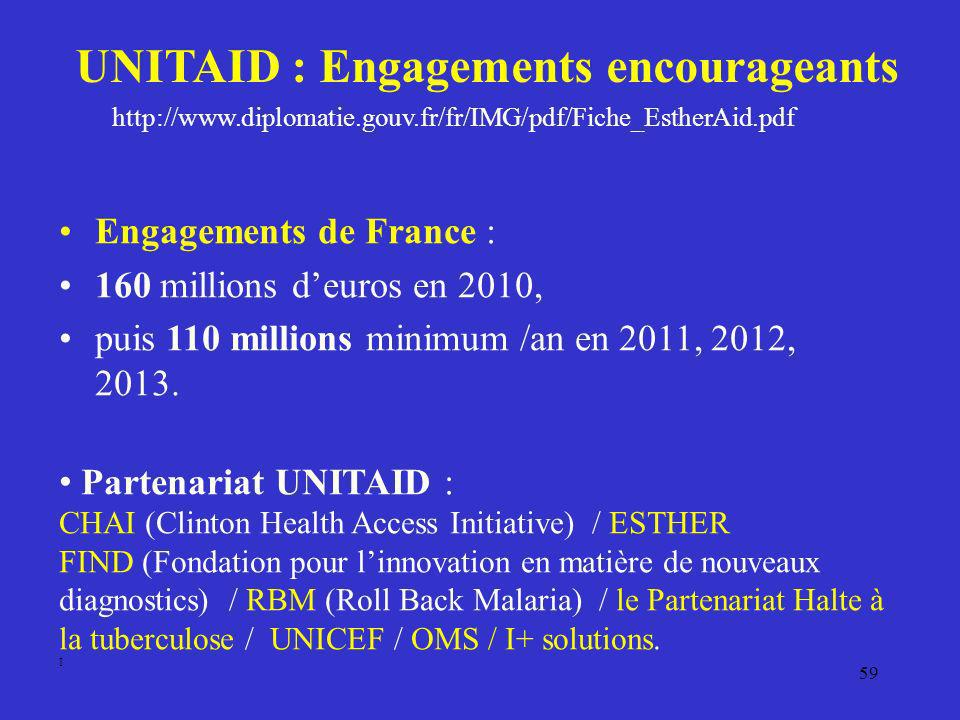 UNITAID : Engagements encourageants