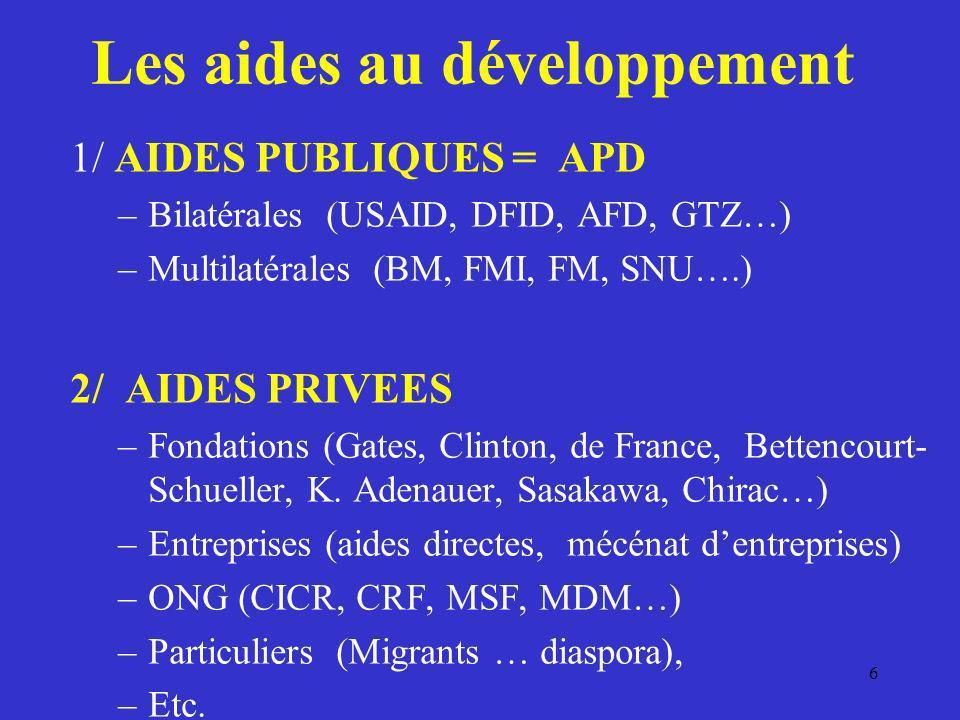 Les aides au développement