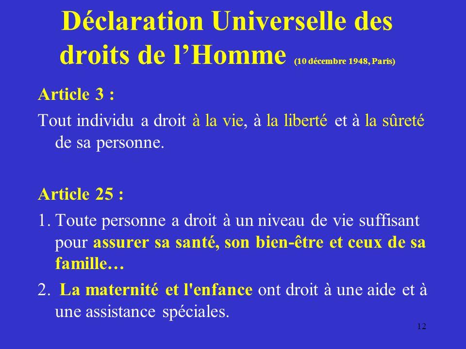 Déclaration Universelle des droits de l'Homme (10 décembre 1948, Paris)