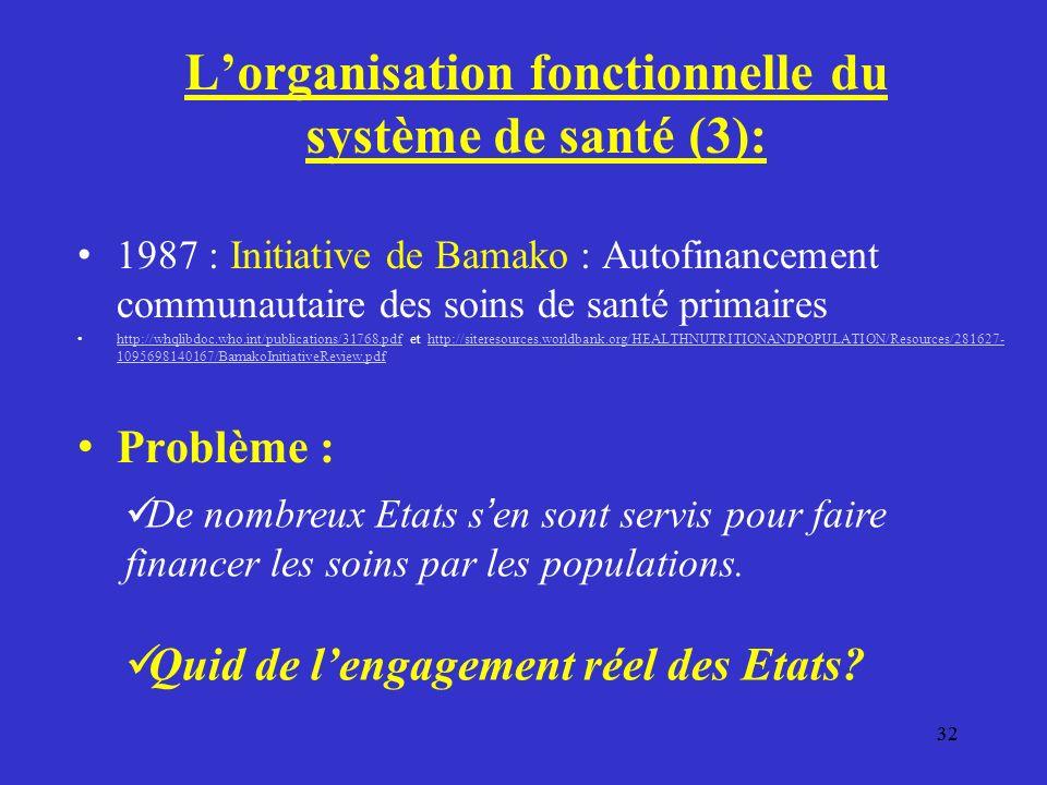 L'organisation fonctionnelle du système de santé (3):