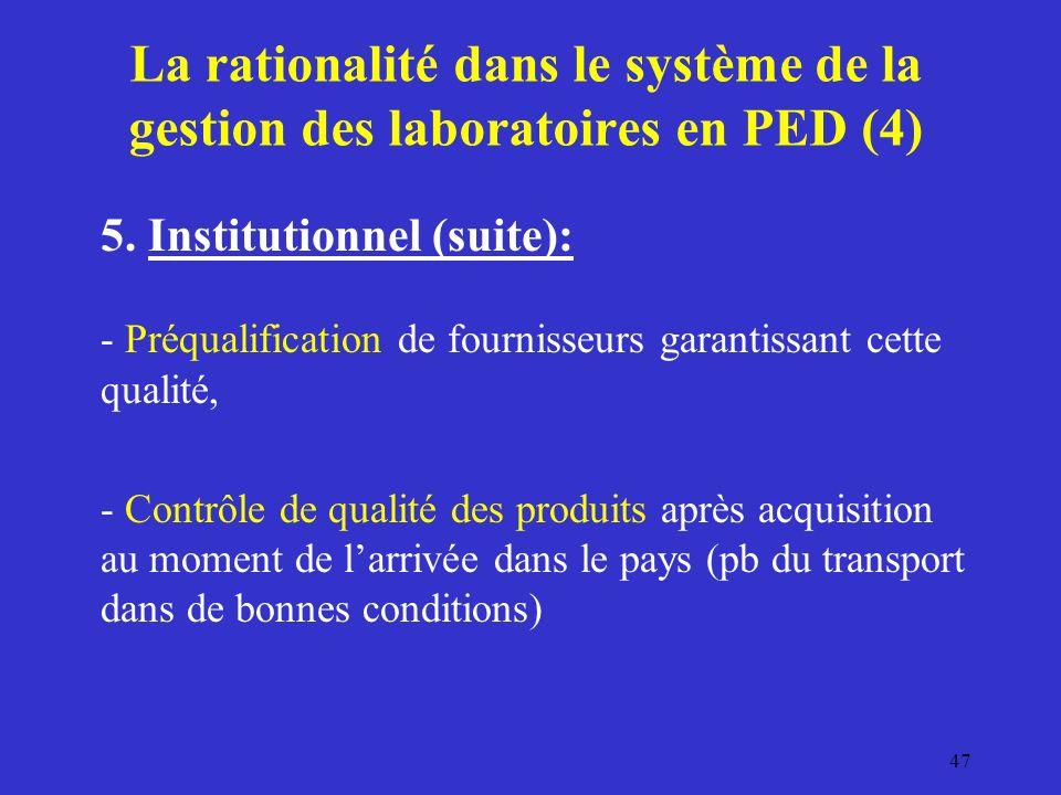La rationalité dans le système de la gestion des laboratoires en PED (4)