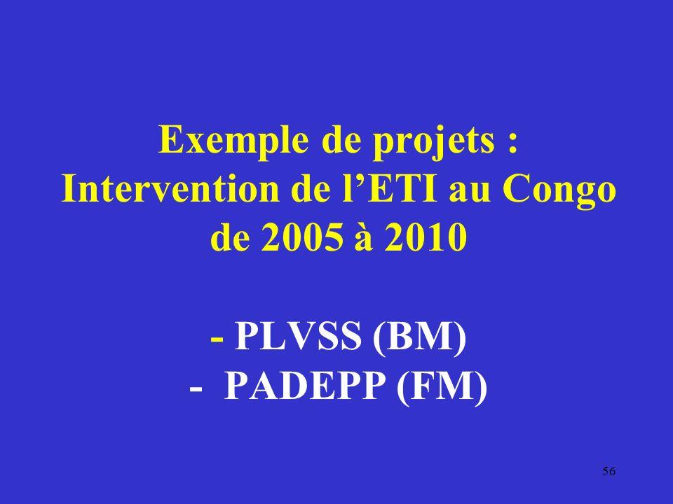 Exemple de projets : Intervention de l'ETI au Congo de 2005 à 2010 - PLVSS (BM) - PADEPP (FM)
