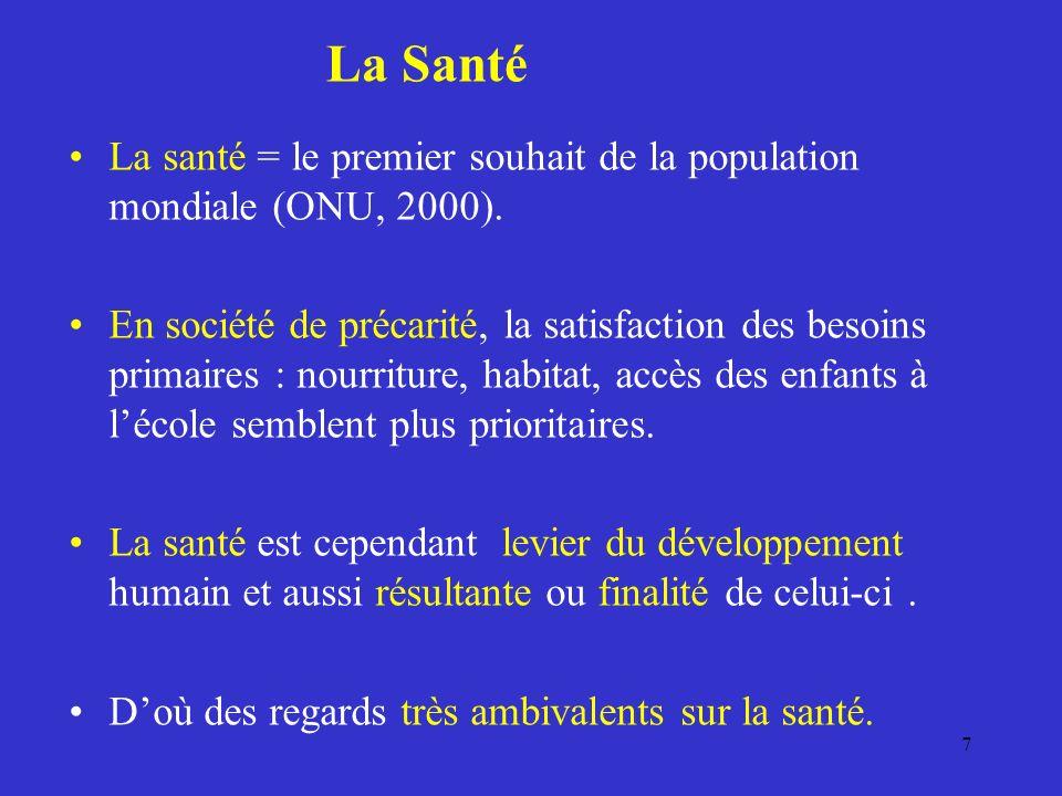 La Santé La santé = le premier souhait de la population mondiale (ONU, 2000).