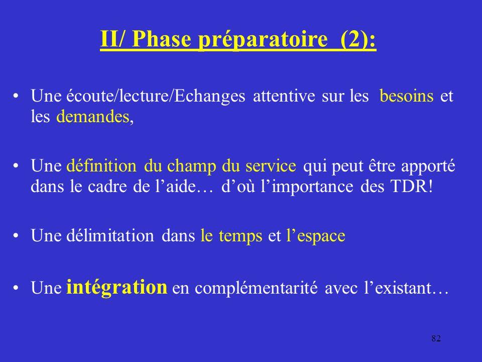 II/ Phase préparatoire (2):