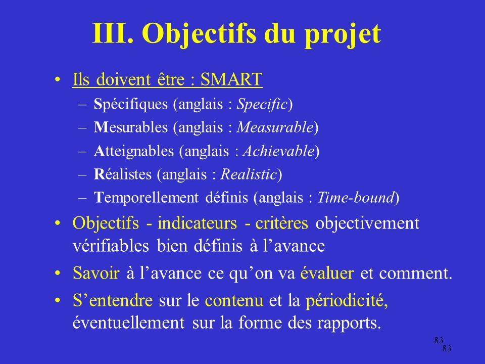 III. Objectifs du projet