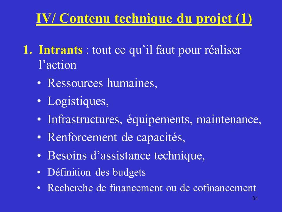 IV/ Contenu technique du projet (1)