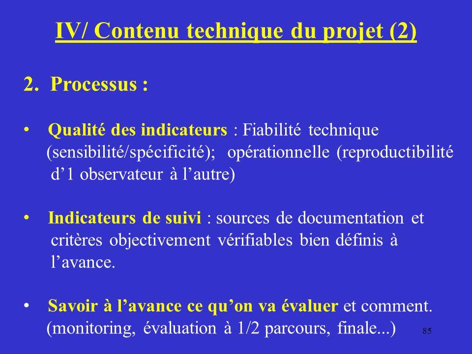 IV/ Contenu technique du projet (2)