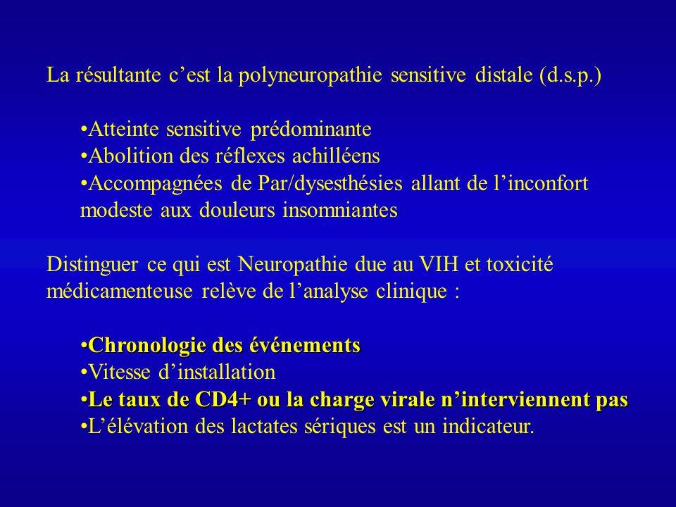 La résultante c'est la polyneuropathie sensitive distale (d.s.p.)