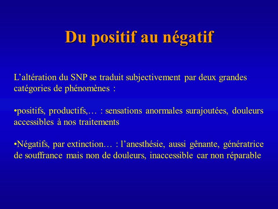 Du positif au négatif L'altération du SNP se traduit subjectivement par deux grandes. catégories de phénomènes :