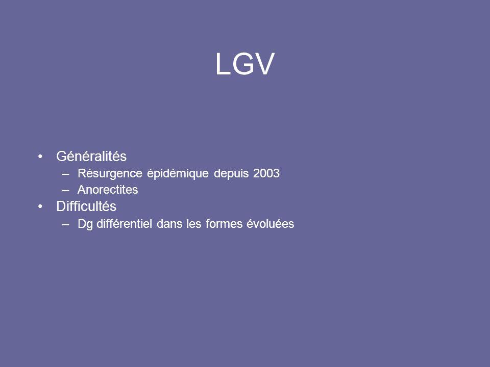 LGV Généralités Difficultés Résurgence épidémique depuis 2003