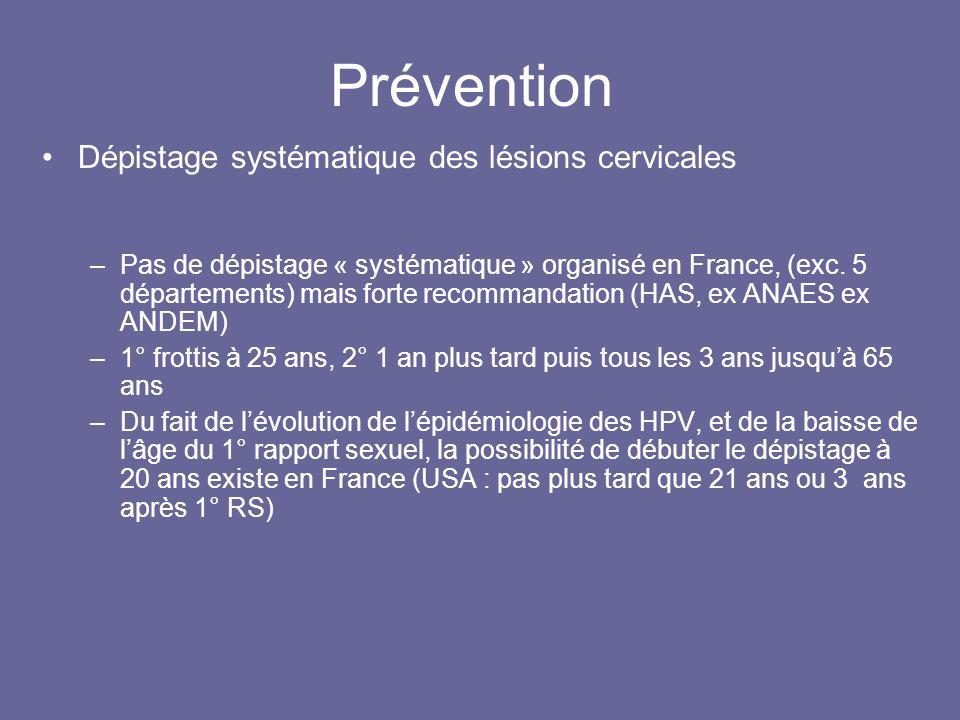 Prévention Dépistage systématique des lésions cervicales