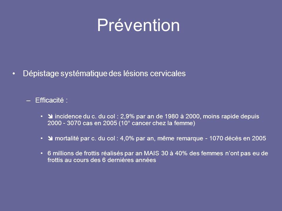 Prévention Dépistage systématique des lésions cervicales Efficacité :