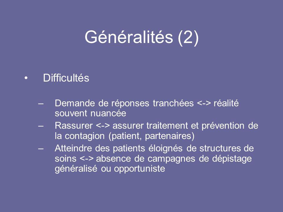 Généralités (2) Difficultés