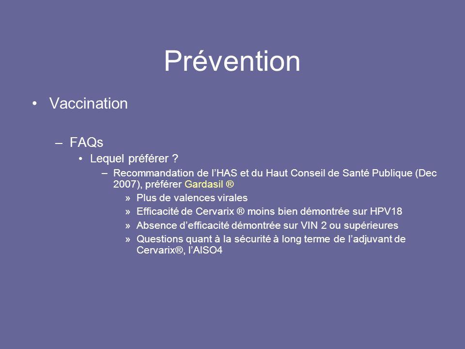 Prévention Vaccination FAQs Lequel préférer