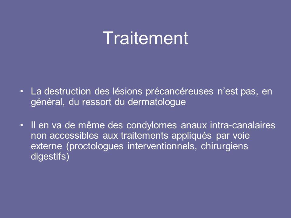 Traitement La destruction des lésions précancéreuses n'est pas, en général, du ressort du dermatologue.
