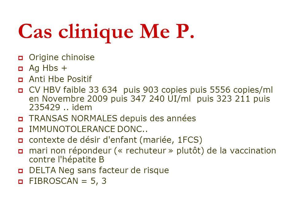Cas clinique Me P. Origine chinoise Ag Hbs + Anti Hbe Positif