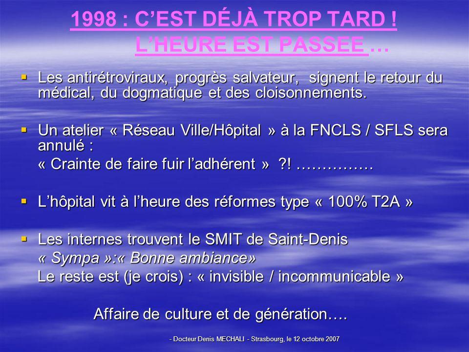 1998 : C'EST DÉJÀ TROP TARD ! L'HEURE EST PASSEE …