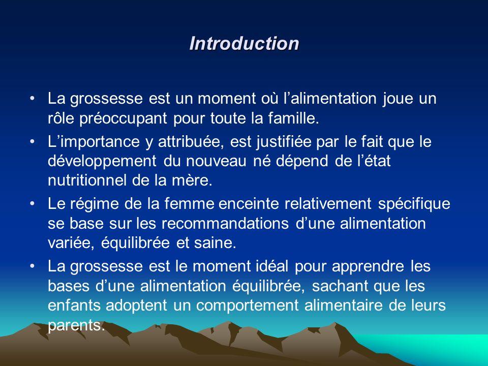Introduction La grossesse est un moment où l'alimentation joue un rôle préoccupant pour toute la famille.